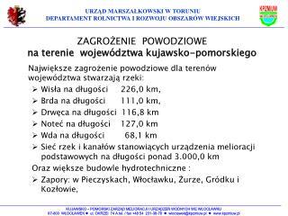 ZAGROŻENIE  POWODZIOWE na terenie  województwa kujawsko-pomorskiego