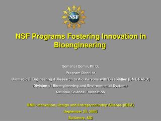 NSF Programs Fostering Innovation in Bioengineering