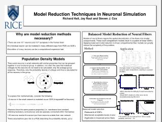 Model Reduction Techniques in Neuronal Simulation Richard Hall, Jay Raol and Steven J. Cox