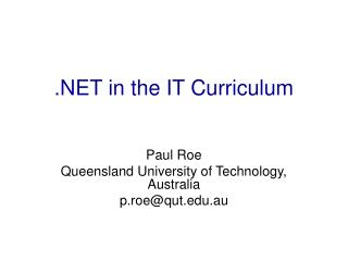 .NET in the IT Curriculum