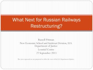 What Next for Russian Railways Restructuring?