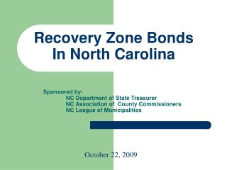 Recovery Zone Bonds In North Carolina