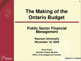 Public Sector Financial Management Ryerson University November 18, 2008