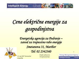 Cene električne energije za gospodinjstva