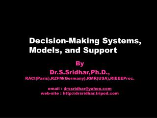 Decision-Making Systems, Models, and Support