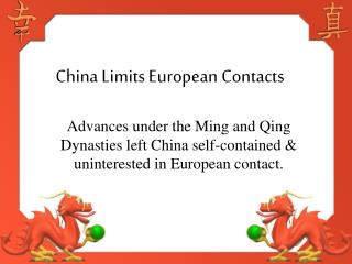 China Limits European Contacts