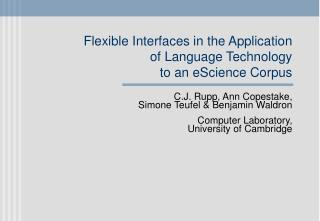 Flexible Interfaces in the Application of Language Technology to an eScience Corpus
