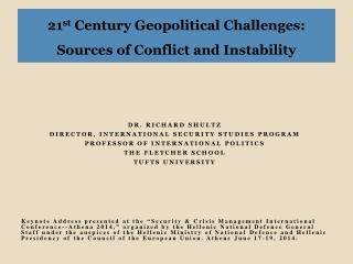 21 st  Century Geopolitical Challenges: Sources of Conflict and Instability