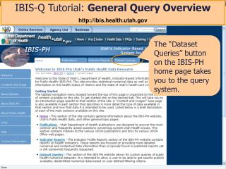 IBIS-Q Tutorial:  General Query Overview ibis.health.utah