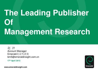 The Leading Publisher  Of  Management Research