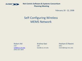 Self-Configuring Wireless  MEMS Network
