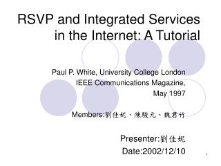 RSVP and Integrated Services in the Internet: A Tutorial