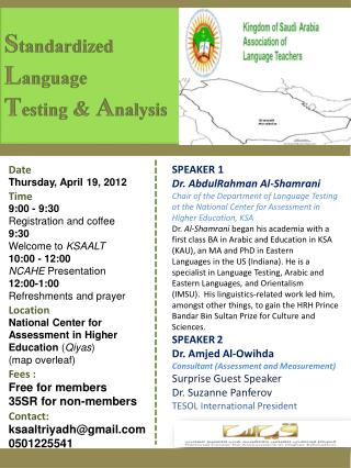 Date Thursday, April 19, 2012 Time 9:00 - 9:30 Registration and coffee 9:30 Welcome to  KSAALT
