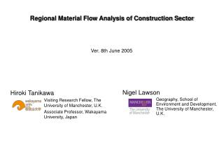 Regional Material Flow Analysis of Construction Sector