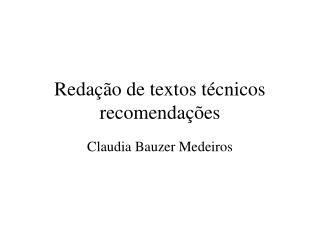 Redação de textos técnicos recomendações