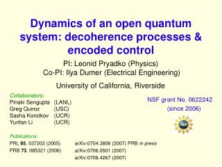 Dynamics of an open quantum system: decoherence processes & encoded control