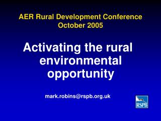 AER Rural Development Conference  October 2005
