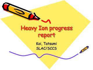 Heavy Ion progress report
