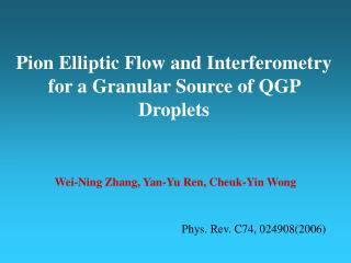 Pion Elliptic Flow and Interferometry for a Granular Source of QGP Droplets