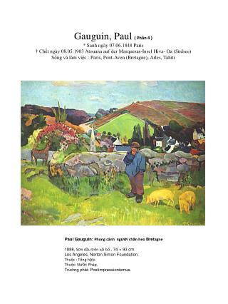 Paul Gauguin:  Phong cảnh  ng ườ i ch ă n heo  Bret agne