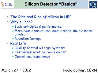 "Silicon Detector  "" Basics """