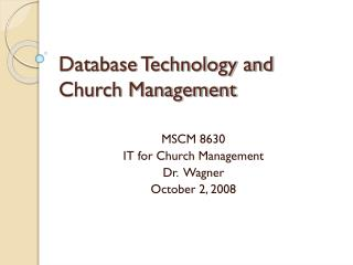 Database Technology and Church Management
