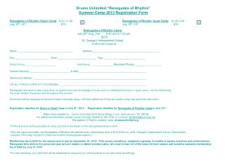 "Drums Unlimited ""Renegades of Rhythm"" Summer Camp 2013 Registration Form"