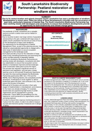 South Lanarkshire Biodiversity Partnership: Peatland restoration at windfarm sites
