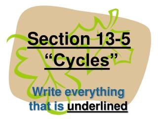 Section 13-5 �Cycles �