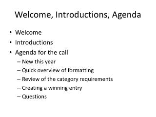 Welcome, Introductions, Agenda