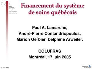 Financementdu système de soins québécois
