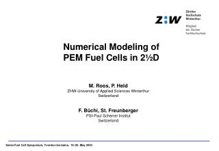 Numerical Modeling of  PEM Fuel Cells in 2�D