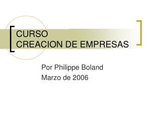 CURSO  CREACION DE EMPRESAS