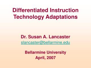 Differentiated Instruction Technology Adaptations