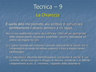 Tecnica – 9