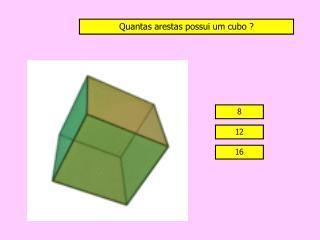 Quantas  arestas possui um cubo ?