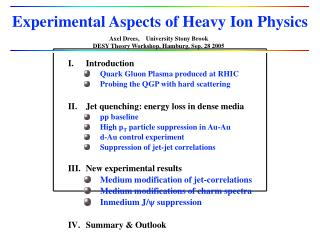 Experimental Aspects of Heavy Ion Physics