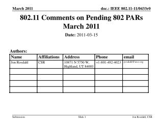 802.11 Comments on Pending 802 PARs March 2011