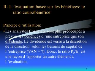 II- L   valuation bas e sur les b n fices: le  ratio cours