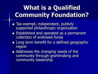 What is a Qualified Community Foundation?