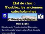 tat de choc : N oubliez les anciennes cat cholamines
