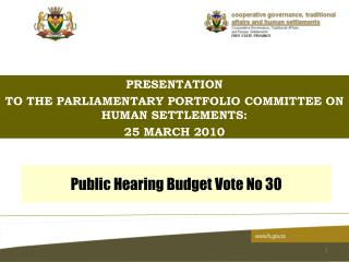 Public Hearing Budget Vote No 30