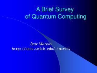A Brief Survey  of Quantum Computing