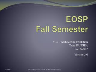 EOSP Fall Semester