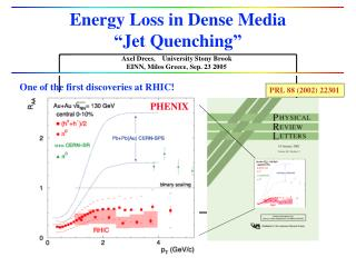 """Energy Loss in Dense Media """"Jet Quenching"""""""