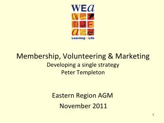 Membership, Volunteering & Marketing Developing a single strategy Peter Templeton