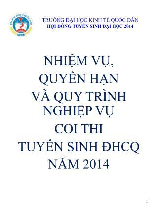 TRƯỜNG ĐẠI HỌC KINH TẾ QUỐC DÂN HỘI ĐỒNG TUYỂN SINH ĐẠI HỌC 2014