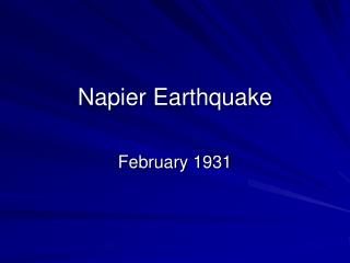 Napier Earthquake