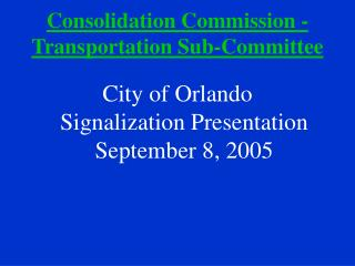 Consolidation Commission - Transportation Sub-Committee