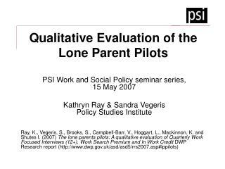 Qualitative Evaluation of the Lone Parent Pilots